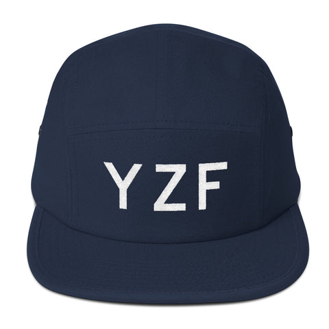 YHM Designs - YZF Yellowknife Airport Code Camper Hat - Navy Blue - Front - Christmas Gift