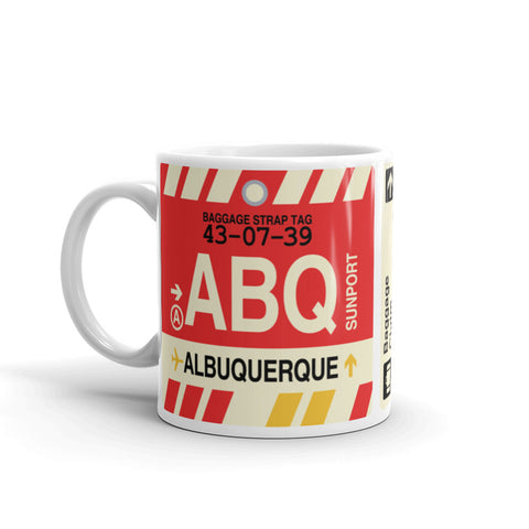 YHM Designs - ABQ Albuquerque Airport Code Coffee Mug - Travel Theme Drinkware and Gift Ideas - Left