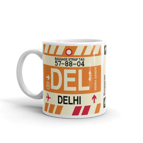 YHM Designs - DEL Delhi, India Airport Code Coffee Mug - Birthday Gift, Christmas Gift - Left