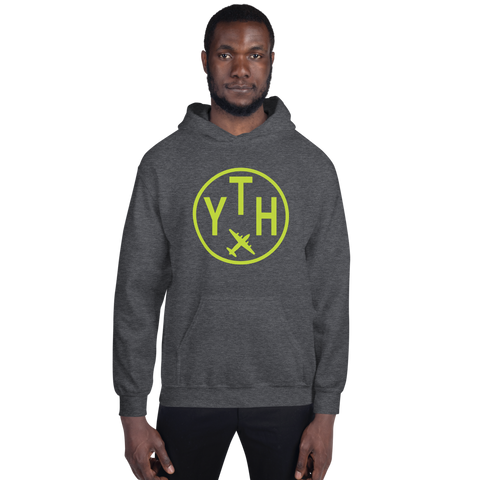 YHM Designs - YTH Thompson Airport Code Hoodie with Roundel Design - Dark Heather - Front