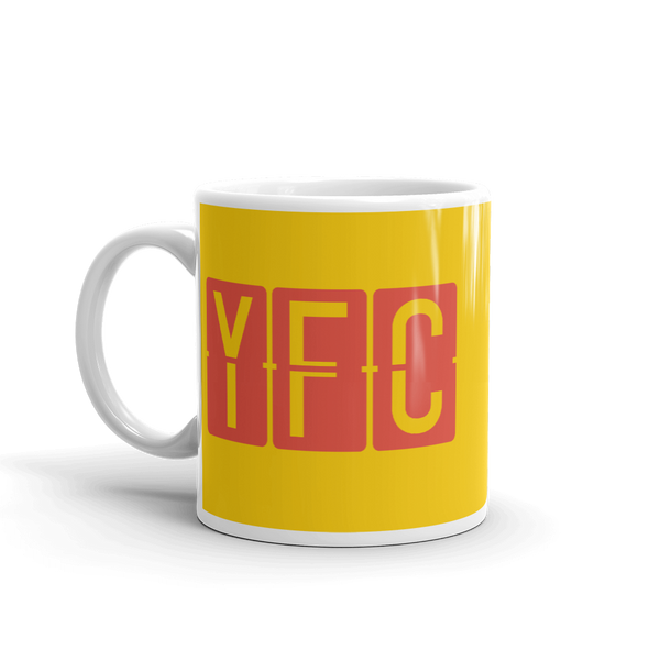 YHM Designs - YFC Fredericton, New Brunswick Airport Code Coffee Mug - Birthday Gift, Christmas Gift - Red and Yellow - Left