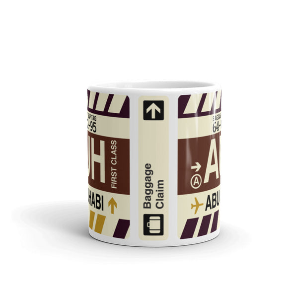 YHM Designs - AUH Abu Dhabi, United Arab Emirates Airport Code Coffee Mug - Teacher Gift, Airbnb Decor - Side