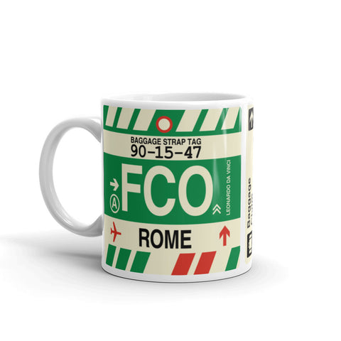 YHM Designs - FCO Rome, Italy Airport Code Coffee Mug - Birthday Gift, Christmas Gift - Left