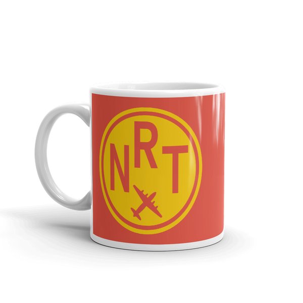 YHM Designs - NRT Tokyo Airport Code Vintage Roundel Coffee Mug - Birthday Gift, Christmas Gift - Yellow and Red - Left