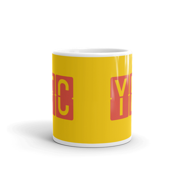 YHM Designs - YFC Fredericton, New Brunswick Airport Code Coffee Mug - Teacher Gift, Airbnb Decor - Red and Yellow - Side