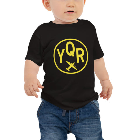 YHM Designs - YQR Regina Vintage Roundel Airport Code T-Shirt - Baby - Black - Gift for Child or Children