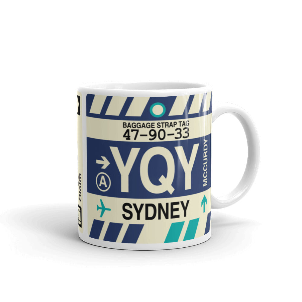 YHM Designs - YQY Sydney, Nova Scotia Airport Code Coffee Mug - Graduation Gift, Housewarming Gift - Right