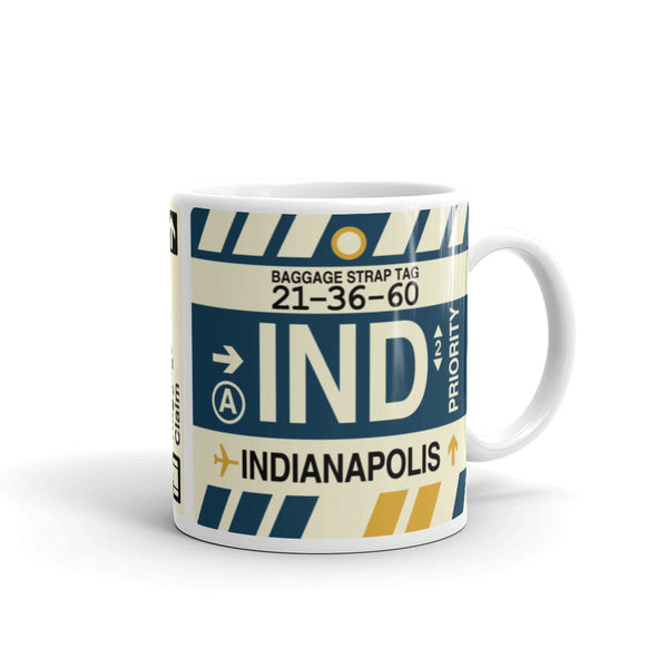 YHM Designs - IND Indianapolis Airport Code Coffee Mug - Graduation Gift, Housewarming Gift - Right