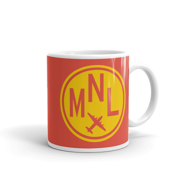 YHM Designs - MNL Manila Airport Code Vintage Roundel Coffee Mug - Graduation Gift, Housewarming Gift - Yellow and Red - Right