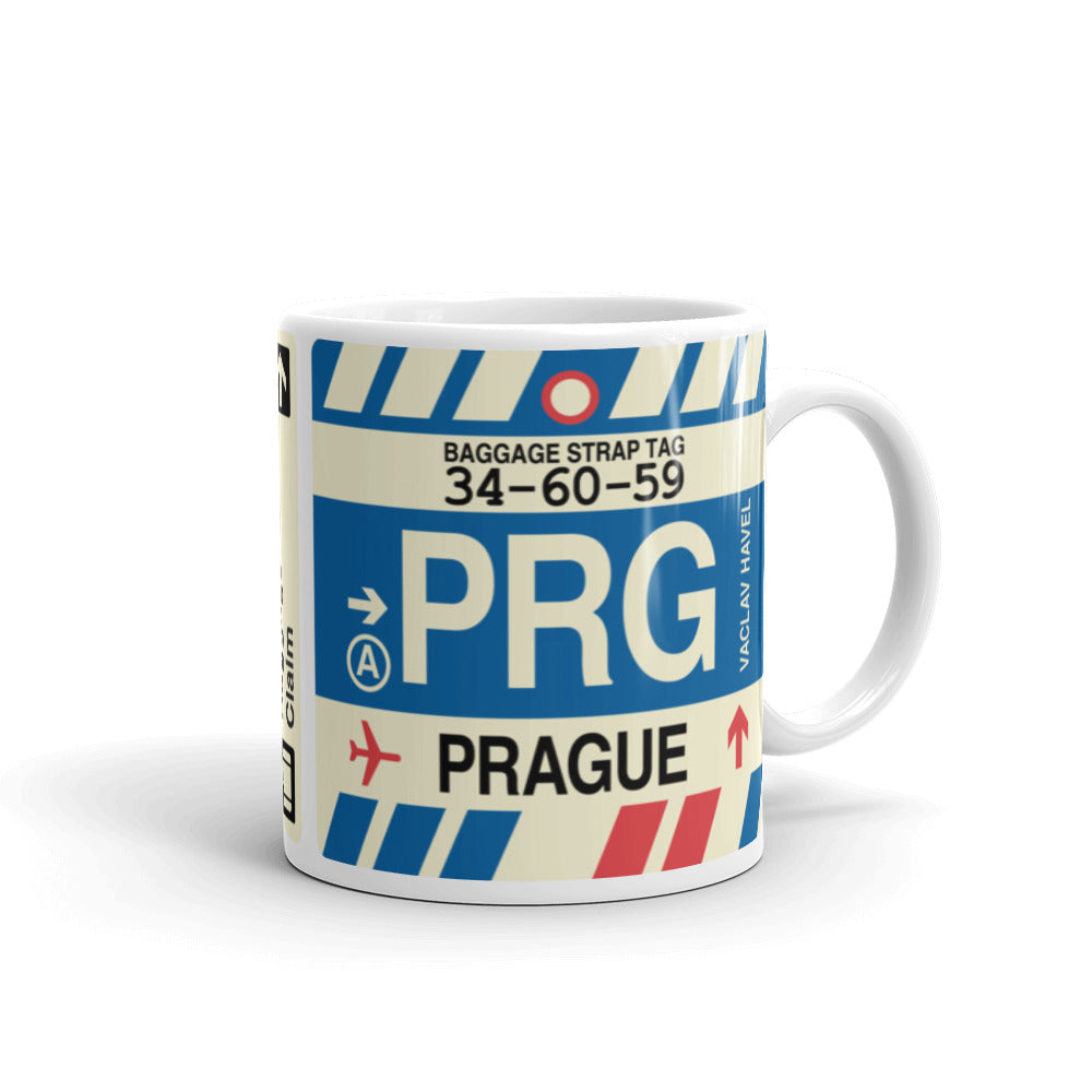 YHM Designs - PRG Prague Airport Code Coffee Mug - Graduation Gift, Housewarming Gift - Right