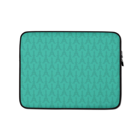 YHM Designs - Eiffel Tower Laptop Sleeve • Turquoise 1