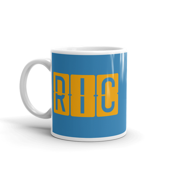 YHM Designs - RIC Richmond Airport Code Split-Flap Display Coffee Mug - Birthday Gift, Christmas Gift - Orange and Blue - Left