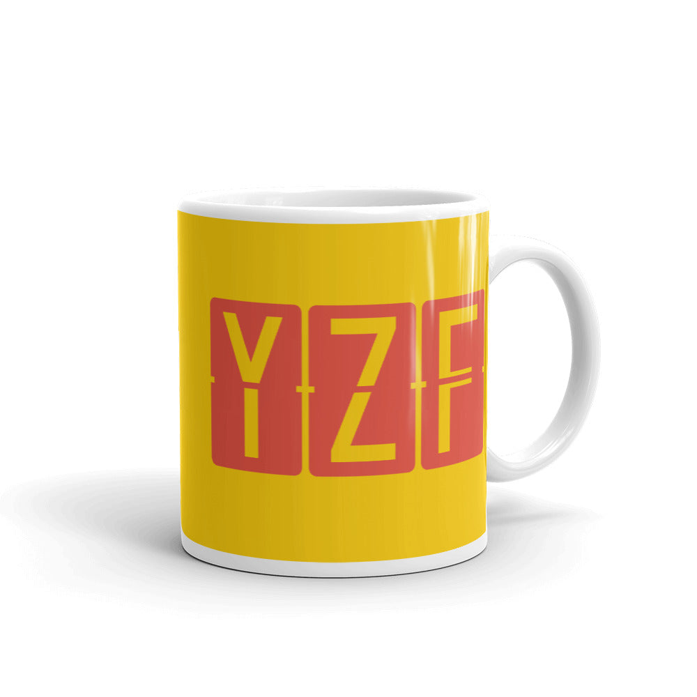 YHM Designs - YZF Yellowknife, Northwest Territories Airport Code Coffee Mug - Graduation Gift, Housewarming Gift - Red and Yellow - Right