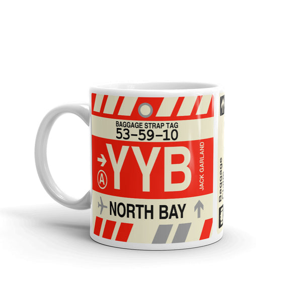 YHM Designs - YYB North Bay Airport Code Coffee Mug - Birthday Gift, Christmas Gift - Left