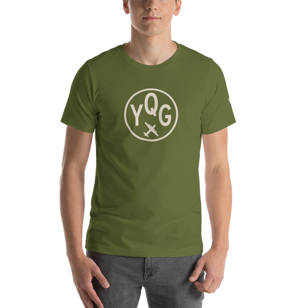 YHM Designs - YQG Windsor Airport Code T-Shirt - Adult - Olive Green - Birthday Gift