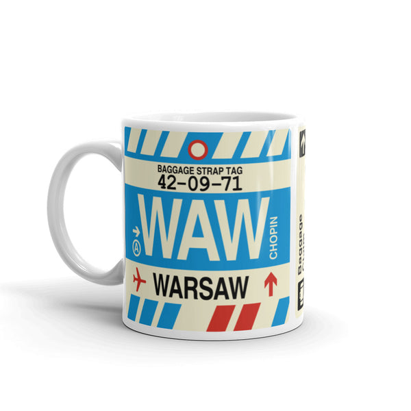 YHM Designs - WAW Warsaw Airport Code Coffee Mug - Birthday Gift, Christmas Gift - Left