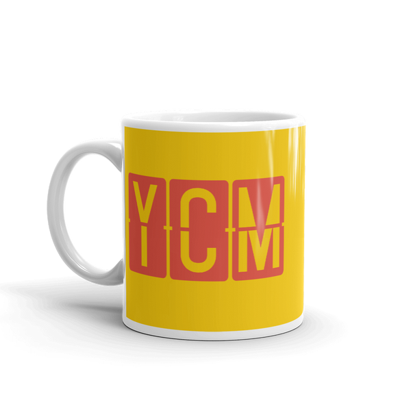 YHM Designs - YCM St. Catharines, Ontario Airport Code Coffee Mug - Birthday Gift, Christmas Gift - Red and Yellow - Left