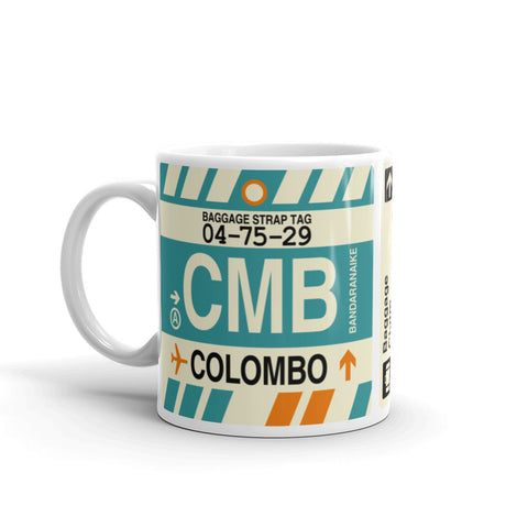 YHM Designs - CMB Colombo, Sri Lanka Airport Code Coffee Mug - Birthday Gift, Christmas Gift - Left