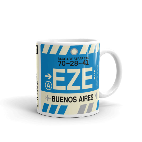YHM Designs - EZE Buenos Aires, Argentina Airport Code Coffee Mug - Graduation Gift, Housewarming Gift - Right
