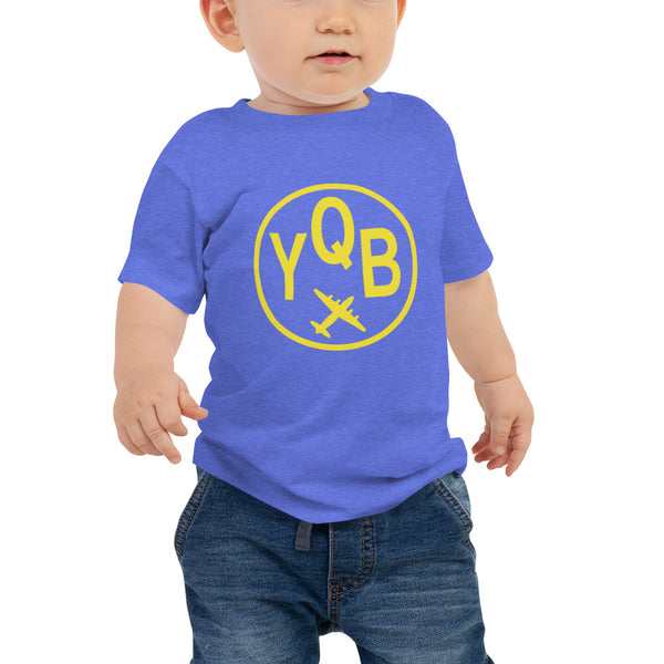 YHM Designs - YQB Quebec City T-Shirt - Airport Code and Vintage Roundel Design - Baby - Blue - Gift for Grandchild or Grandchildren