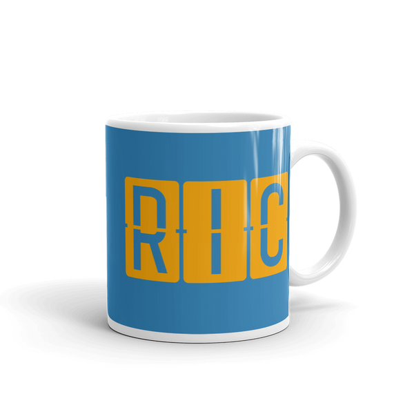 YHM Designs - RIC Richmond Airport Code Split-Flap Display Coffee Mug - Graduation Gift, Housewarming Gift - Orange and Blue - Right
