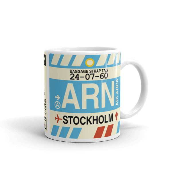 YHM Designs - ARN Stockholm, Sweden Airport Code Coffee Mug - Graduation Gift, Housewarming Gift - Right