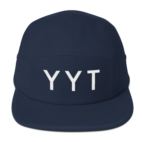 YHM Designs - YYT St. John's Airport Code Camper Hat - Navy Blue - Front - Christmas Gift