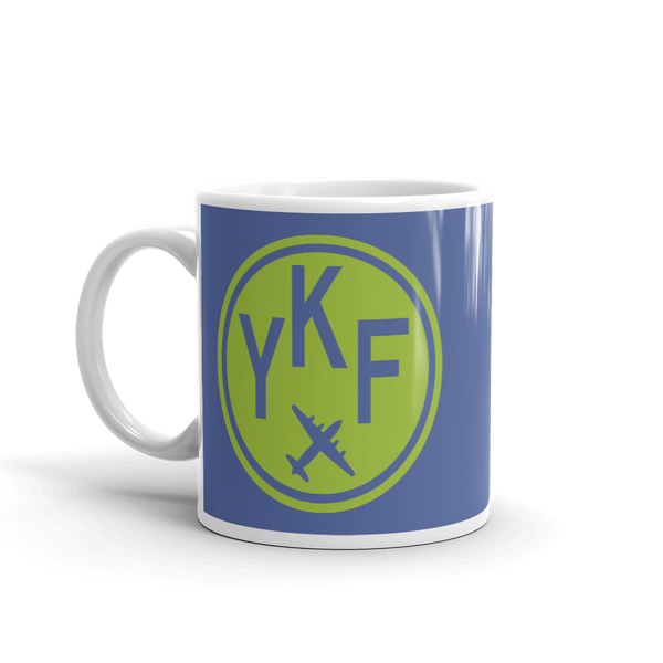 YHM Designs - YKF Waterloo Airport Code Vintage Roundel Coffee Mug - Birthday Gift, Christmas Gift - Green and Blue - Left