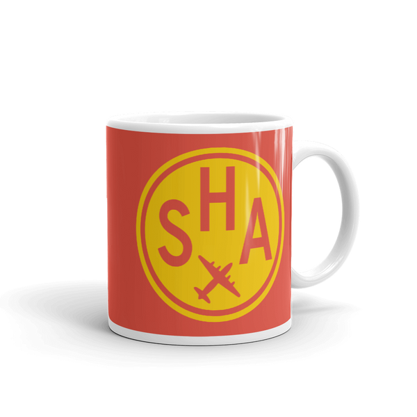 YHM Designs - SHA Shanghai Airport Code Vintage Roundel Coffee Mug - Graduation Gift, Housewarming Gift - Yellow and Red - Right