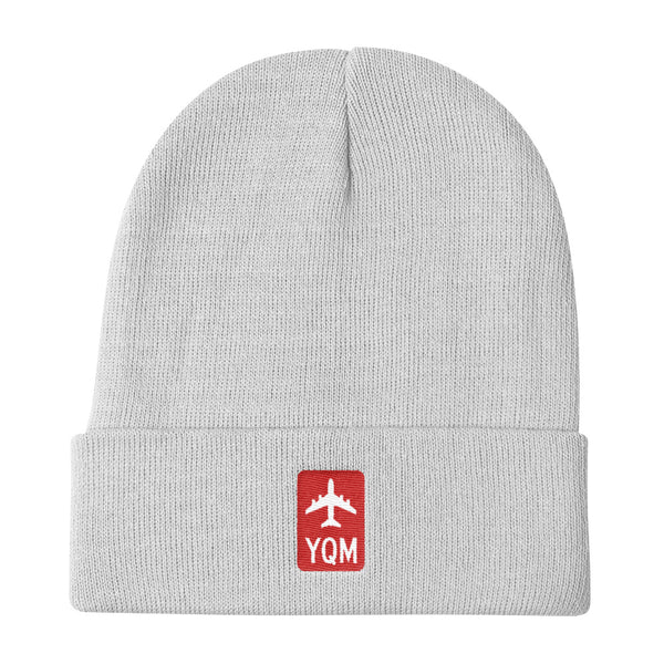 YHM Designs - YQM Moncton Retro Jetliner Airport Code Winter Hat - White - Travel Gift