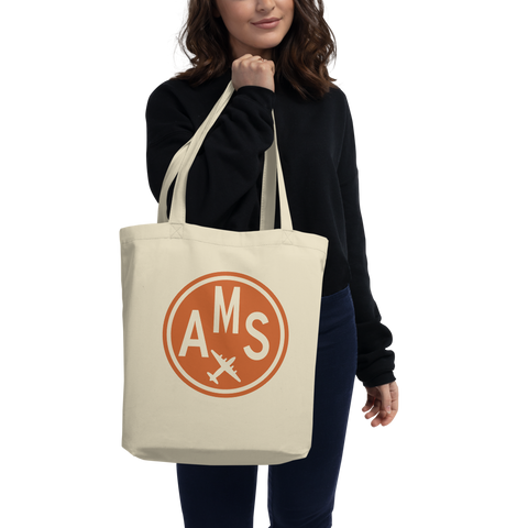 YHM Designs - AMS Amsterdam Airport Code Organic Cotton Tote Bag - Lady