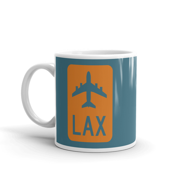 YHM Designs - LAX Los Angeles Airport Code Jetliner Coffee Mug - Birthday Gift, Christmas Gift - Orange and Teal - Left