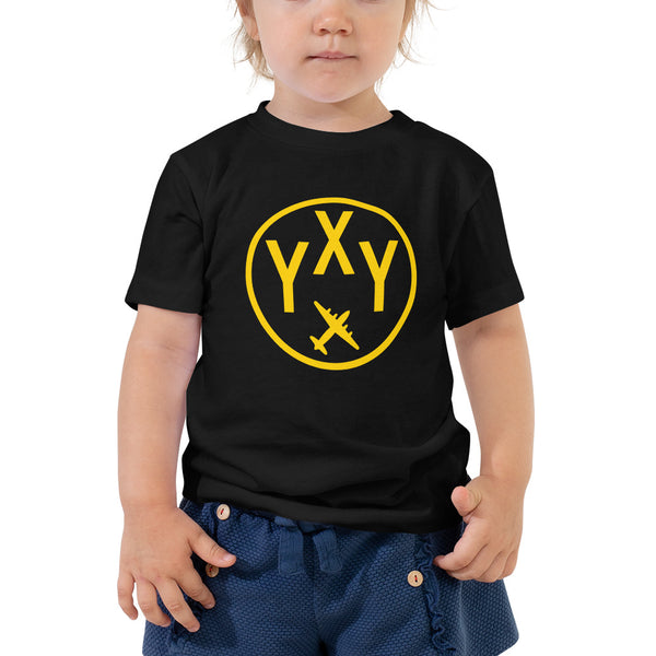 YHM Designs - YXY Whitehorse T-Shirt - Airport Code and Vintage Roundel Design - Toddler - Black - Gift for Grandchild or Grandchildren