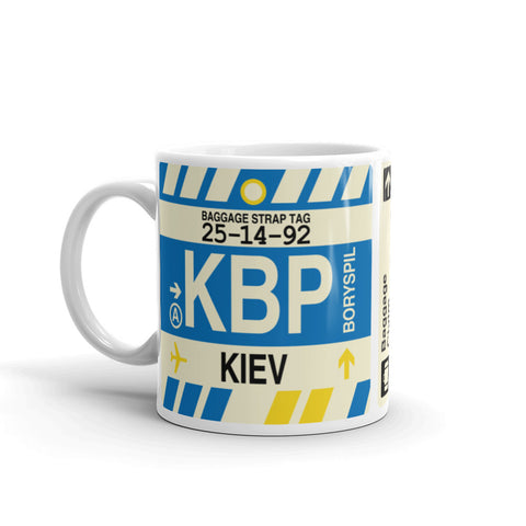 YHM Designs - KBP Kiev, Ukraine Airport Code Coffee Mug - Birthday Gift, Christmas Gift - Left