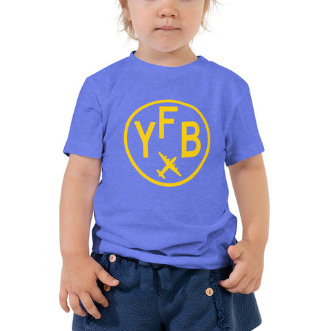 YHM Designs - YFB Iqaluit T-Shirt - Airport Code and Vintage Roundel Design - Toddler - Blue - Gift for Child or Children