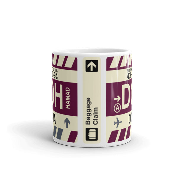 YHM Designs - DOH Doha, Qatar Airport Code Coffee Mug - Teacher Gift, Airbnb Decor - Side
