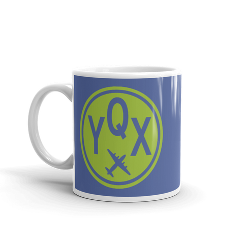 YHM Designs - YQX Gander Airport Code Vintage Roundel Coffee Mug - Birthday Gift, Christmas Gift - Green and Blue - Left