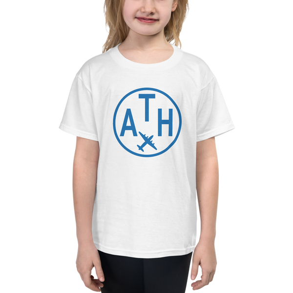 YHM Designs - ATH Athens Airport Code T-Shirt - Child Youth - Christmas Gift