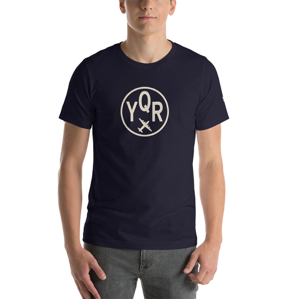 YHM Designs - YQR Regina T-Shirt - Airport Code and Vintage Roundel Design - Adult - Navy Blue - Birthday Gift