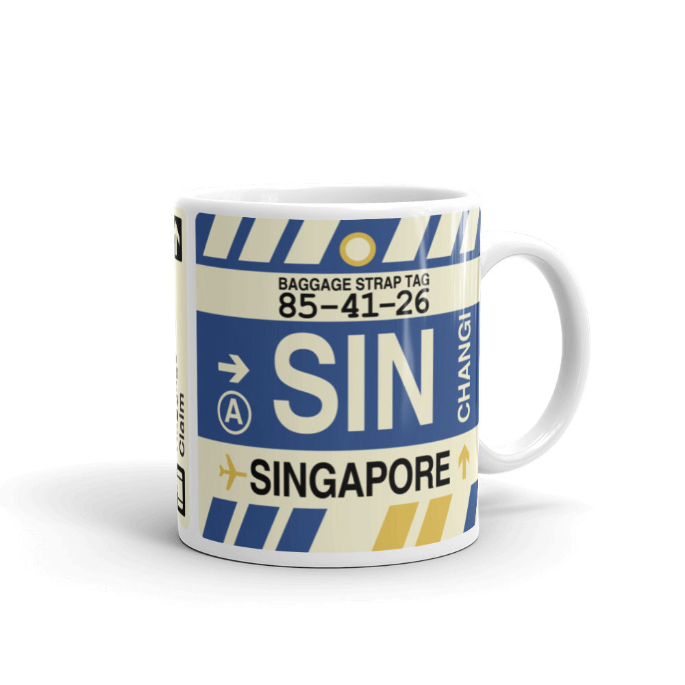 YHM Designs - SIN Singapore,  Airport Code Coffee Mug - Graduation Gift, Housewarming Gift - Right