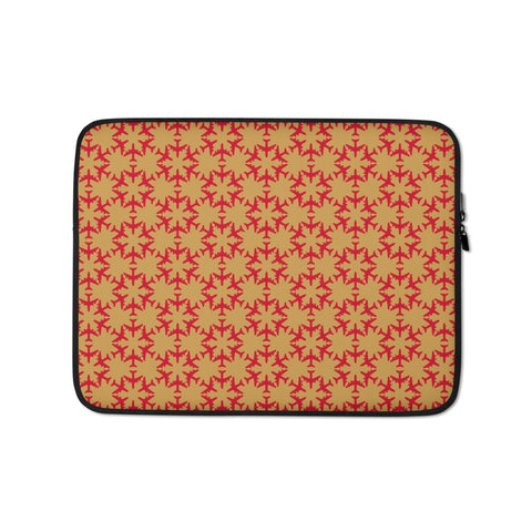 Jetliner Hexagon Pattern Laptop Sleeve • Red and Gold