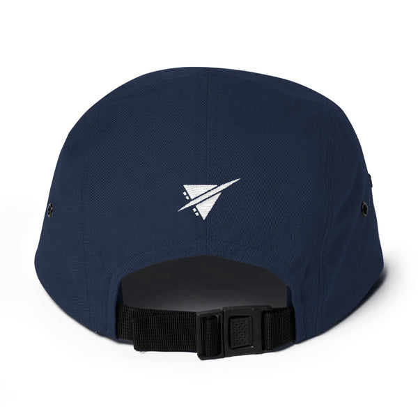YHM Designs - YQB Quebec City Airport Code Camper Hat - Navy Blue - Back - Birthday Gift