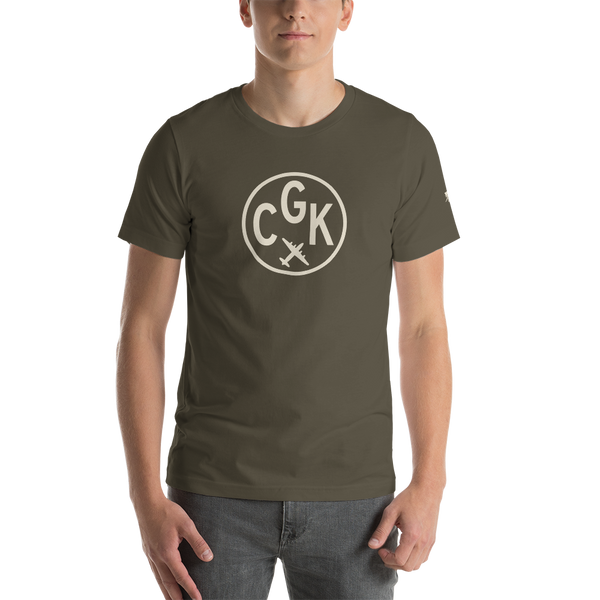 YHM Designs - CGK Jakarta Airport Code T-Shirt - Adult - Army Brown - Birthday Gift