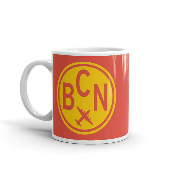 YHM Designs - BCN Barcelona Airport Code Vintage Roundel Coffee Mug - Birthday Gift, Christmas Gift - Yellow and Red - Left