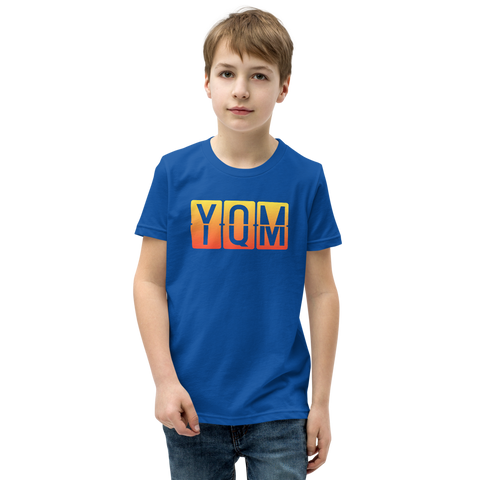 YHM Designs - YQM Moncton Airport Code T-Shirt - Split-Flap Display Design with Orange-Yellow Gradient Colours - Child Youth - Royal Blue 1