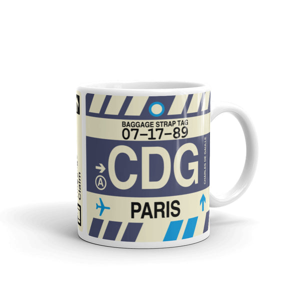 YHM Designs - CDG Paris, France Airport Code Coffee Mug - Graduation Gift, Housewarming Gift - Right