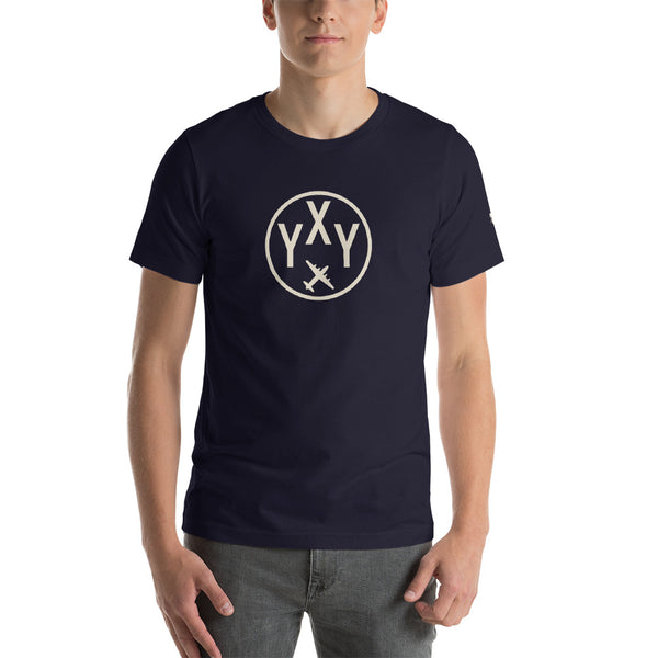 YHM Designs - YXY Whitehorse T-Shirt - Airport Code and Vintage Roundel Design - Adult - Navy Blue - Birthday Gift