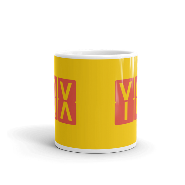 YHM Designs - YQX Gander, Newfoundland and Labrador Airport Code Coffee Mug - Teacher Gift, Airbnb Decor - Red and Yellow - Side