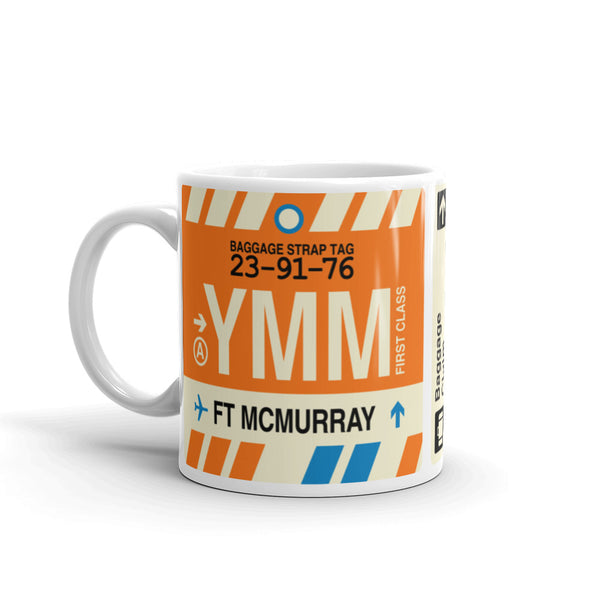YHM Designs - YMM Fort McMurray Airport Code Coffee Mug - Birthday Gift, Christmas Gift - Left