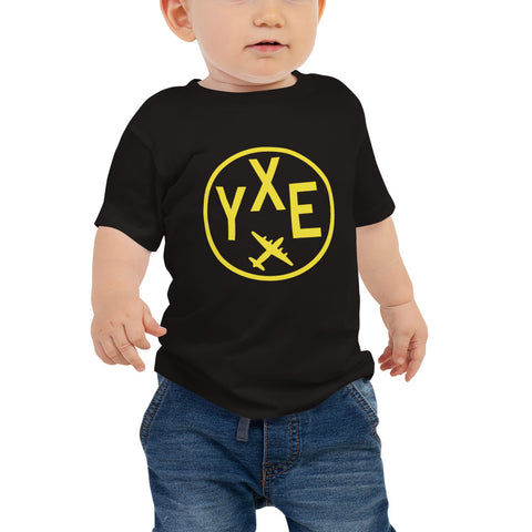 YHM Designs - YXE Saskatoon T-Shirt - Airport Code and Vintage Roundel Design - Baby - Black - Gift for Child or Children